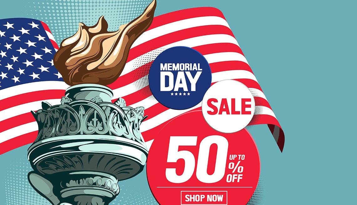 Ilustración de una publicidad de ventas para el Día de recordación con la bandera de Estados Unidos y la Estatua de la Libertad.