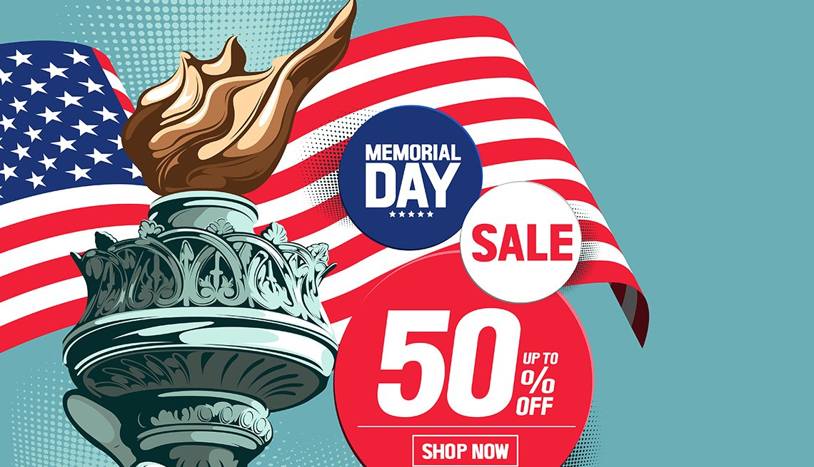 illustration of advertisement for Memorial Day Sale with American flag and the hand of the Statue of Liberty