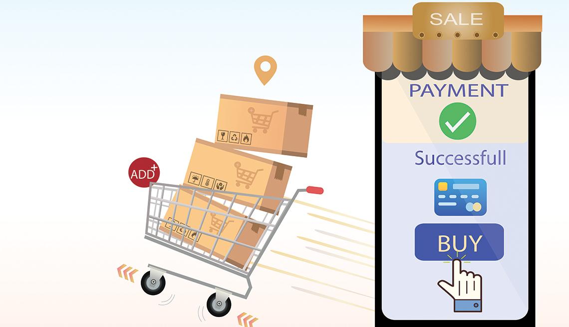 Ilustración de un carrito de compras con cajas y un teléfono móvil con un botón de comprar en la pantalla.