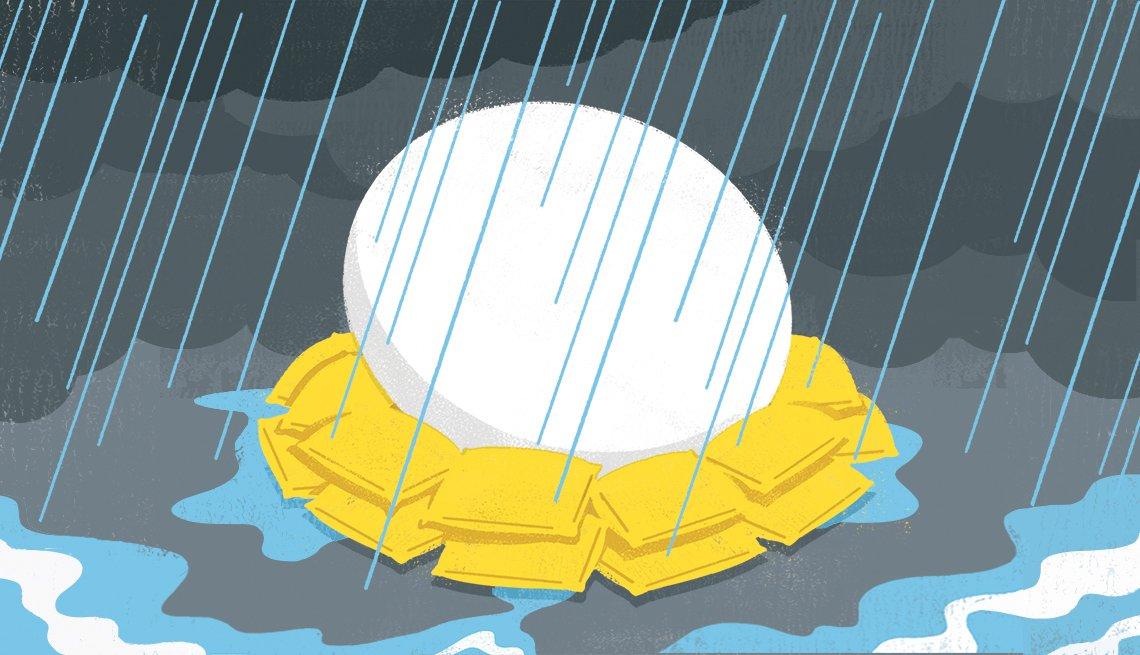 Ilustración de un nido con un huevo bajo la lluvia.