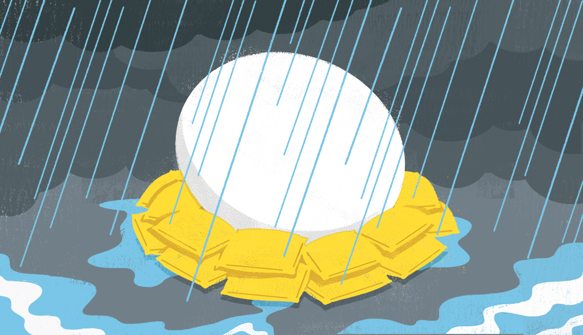 illustration of a nest egg surrounded by sandbags while it is raining
