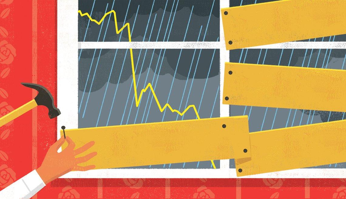 Ilustración de una ventana que están tapando con tablas de madera para proteger el interior de la lluvia.