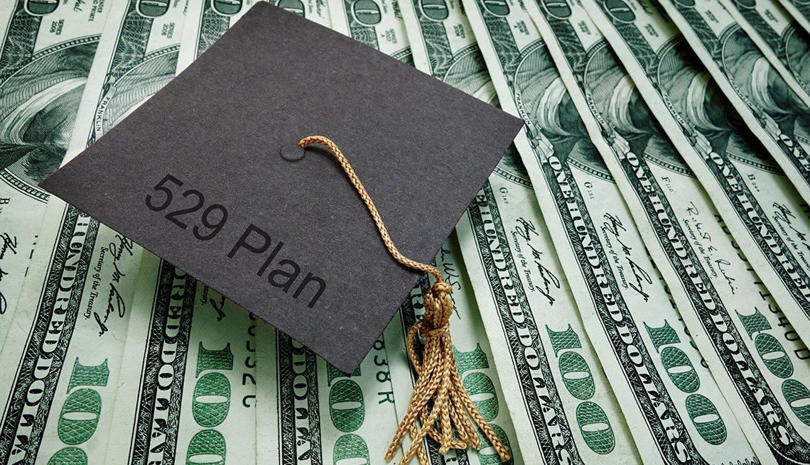 Birrete de graduación con un cordel y una leyenda en inglés que dice plan 529 sobre billetes de 100 dólares.