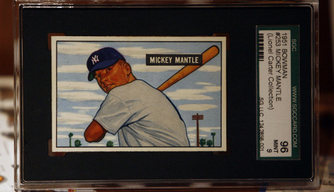 item 3 of Gallery image - Mickey Mantle baseball card in a frame with lot number for pre-auction viewing