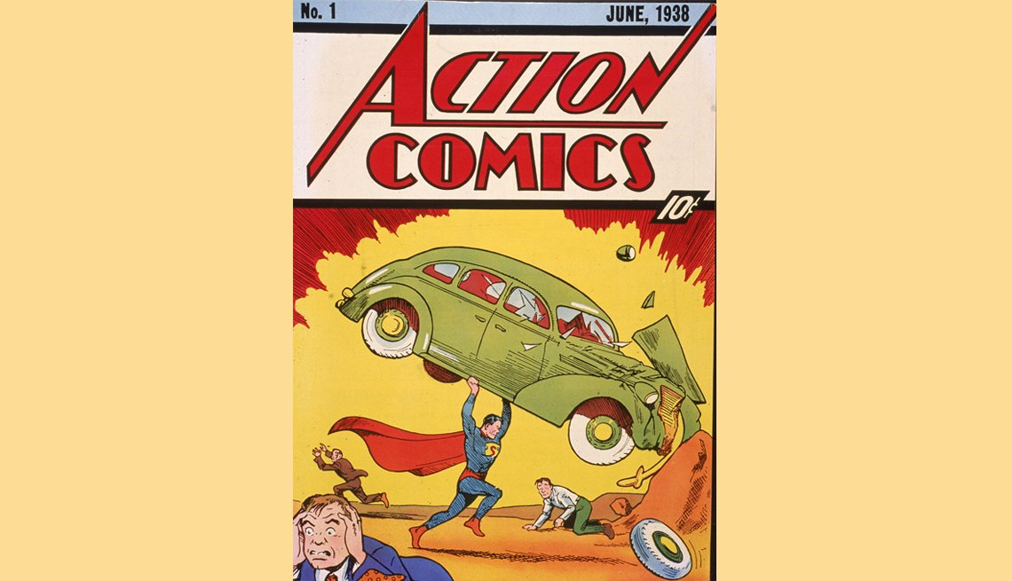item 5 of Gallery image - cover illustration of the comic book action comics number one featuring the first appearance of the character superman lifting a car from june 1938.
