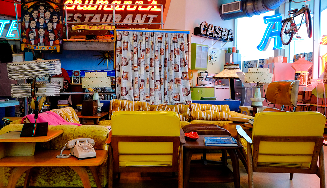item 6 of Gallery image - interior of vintage furniture store with eclectic collection of mid century design