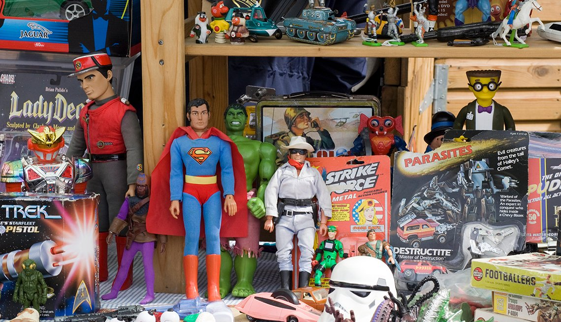 item 1 of Gallery image - collectible toys on shelves including action figures of the lone ranger and superman