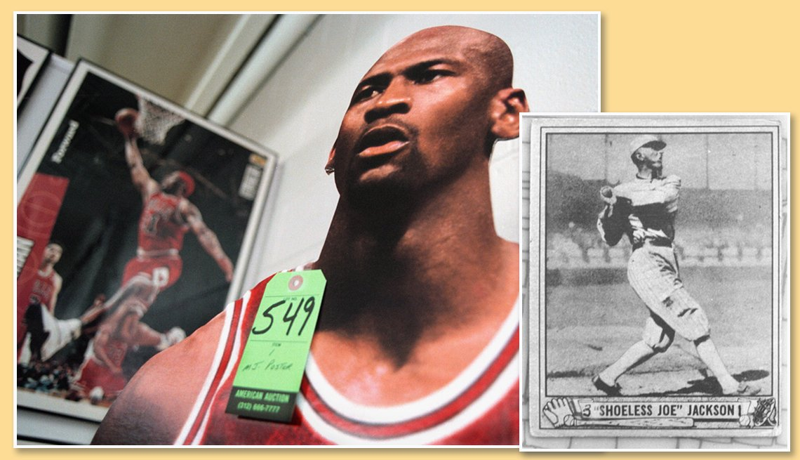 item 8 of Gallery image - assorted sports memborabilia a basketball poster of dennis rodman a lifesize cutout of michael jordan and a baseball card of shoeless joe jackson