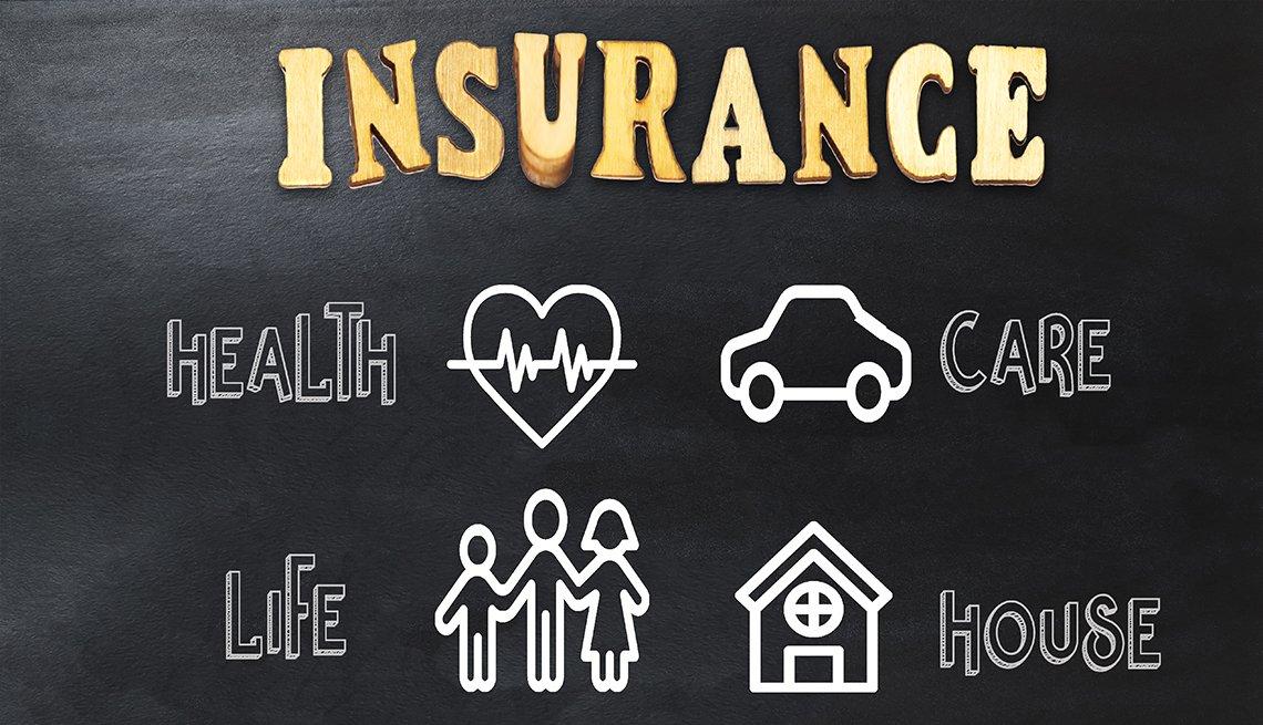 Ilustración con un letrero en inglés que dice seguro, salud, vida, carro, casa.