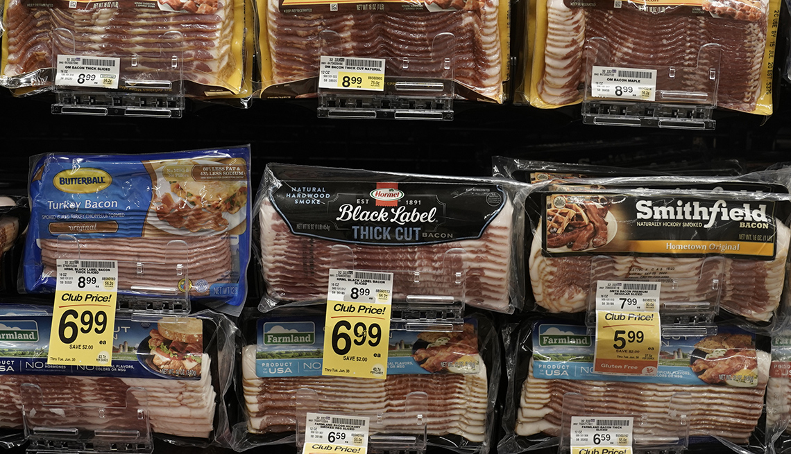 Bacon is displayed for sale inside an Albertsons Cos. Vons grocery store in San Diego, California, U.S. on Monday, June 22, 2020.