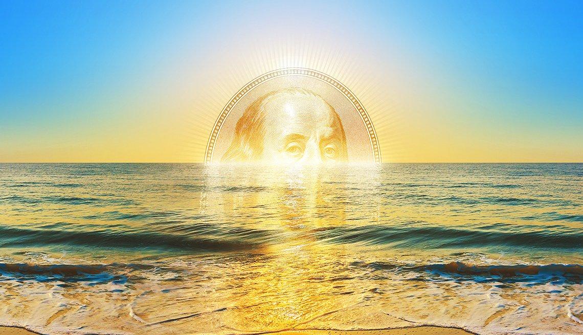 Atardecer en el mar con la imagen central de un billete de 100 dólares que se esconde en el horizonte
