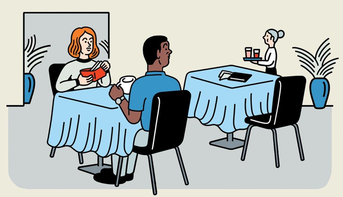 Ilustración de una pareja sentada a la mesa de un restaurante.