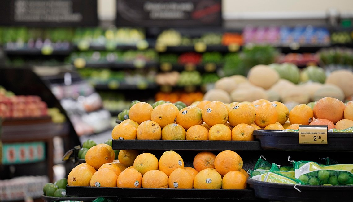 Oranges are displayed for sale in the produce section of an Albertsons Cos. grocery store in San Diego, California, U.S. on Monday, June 22, 2020.
