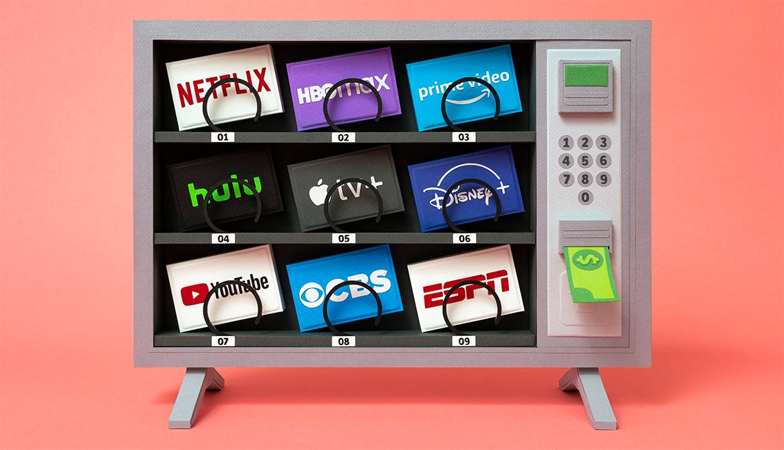 illustration of a vending machine stocked with streaming television services