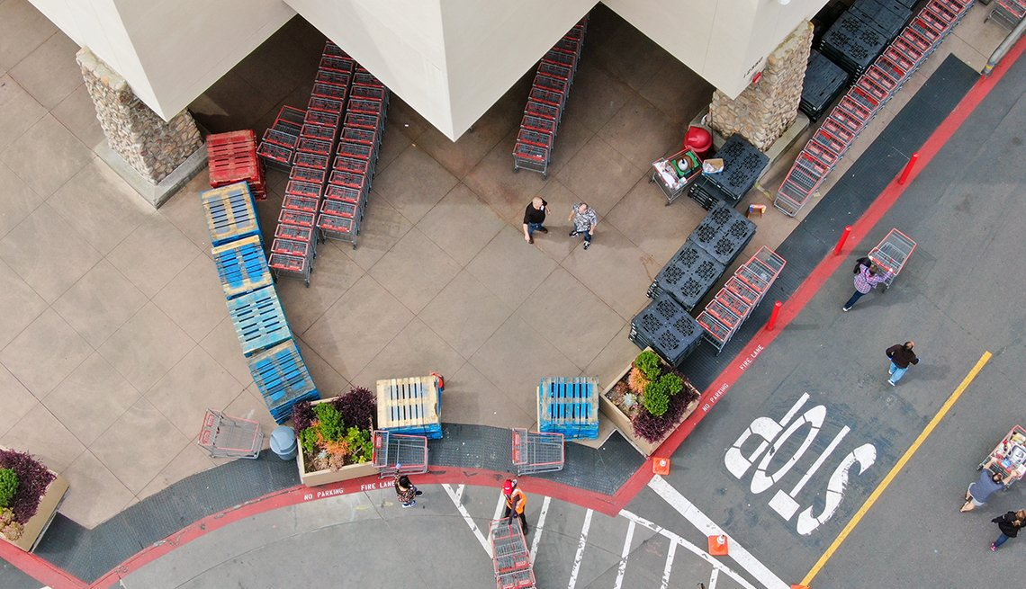 a high angle outside mega store Costco set up to handle bulk buying during the COVID-19 pandemic