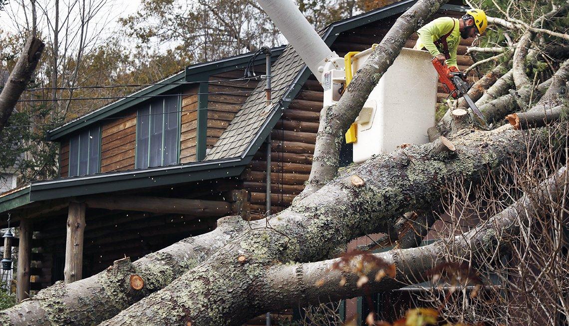 Árbol caído sobre el garaje de una casa es cortado por un trabajador con una sierra eléctrica.