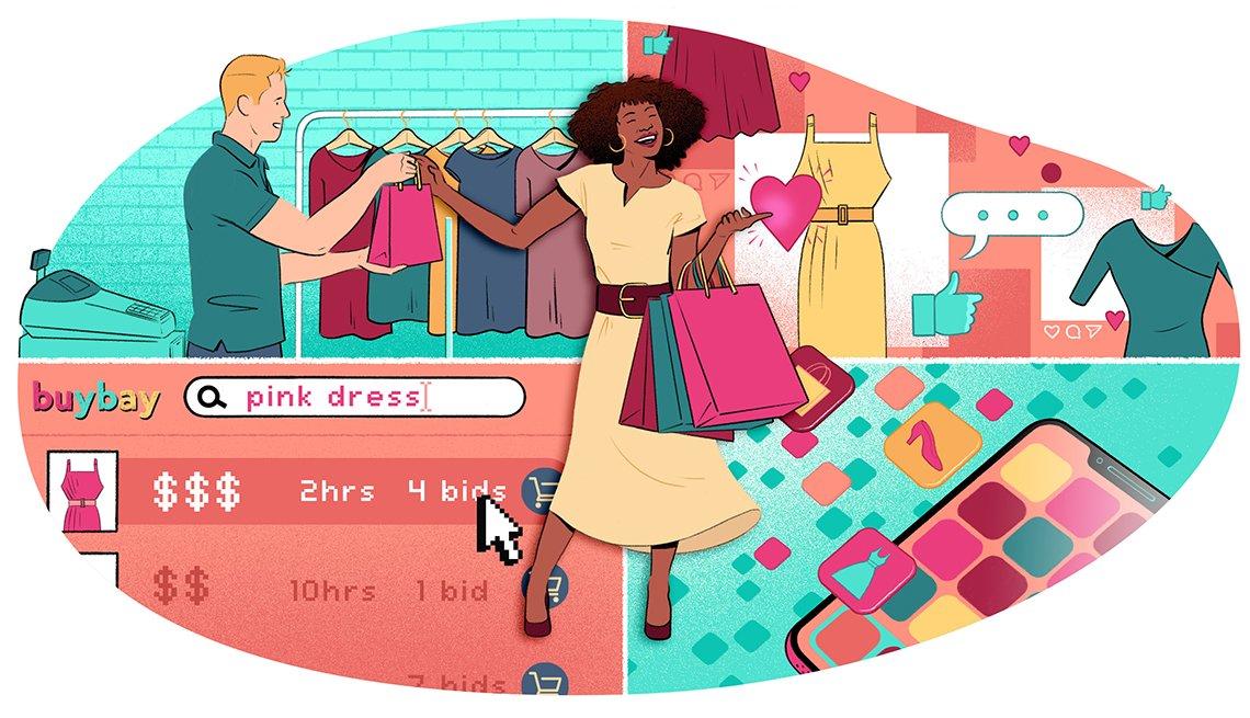 Ilustración de una mujer de una tienda de ropa con bolsas en la mano