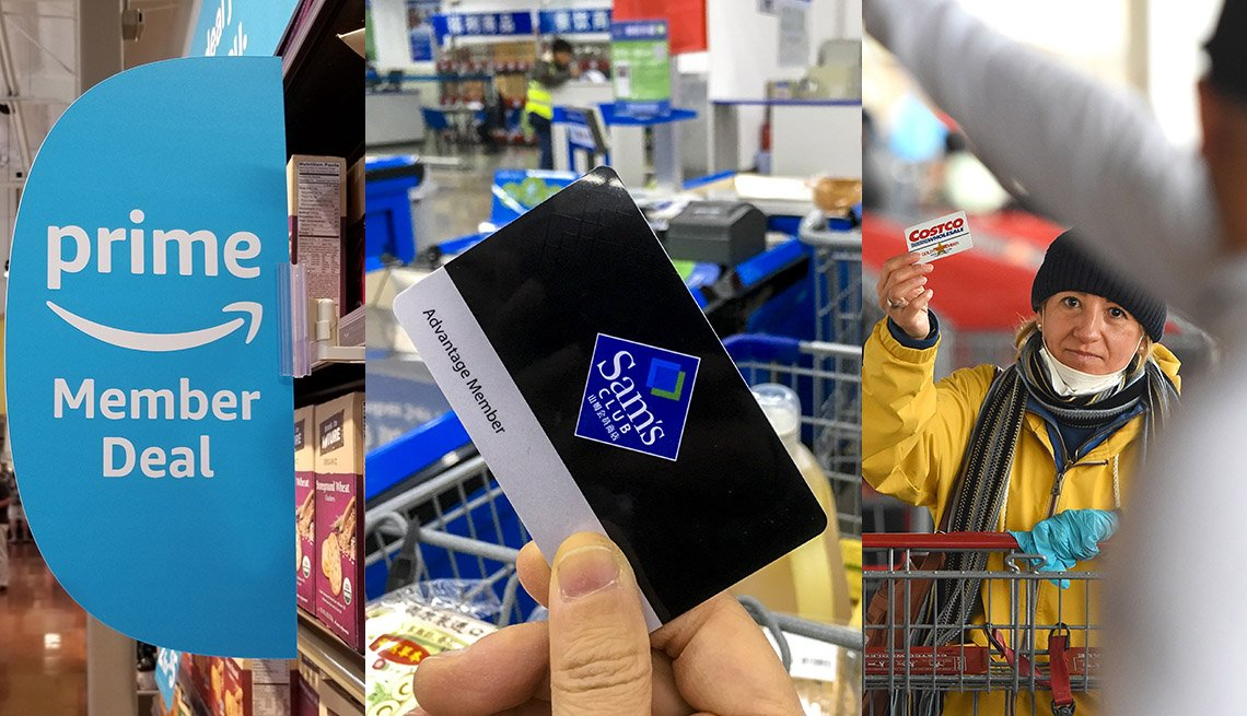 Tarjetas de membresía de Amazon Prime, y Sam's Club sobre personas en tiendas.