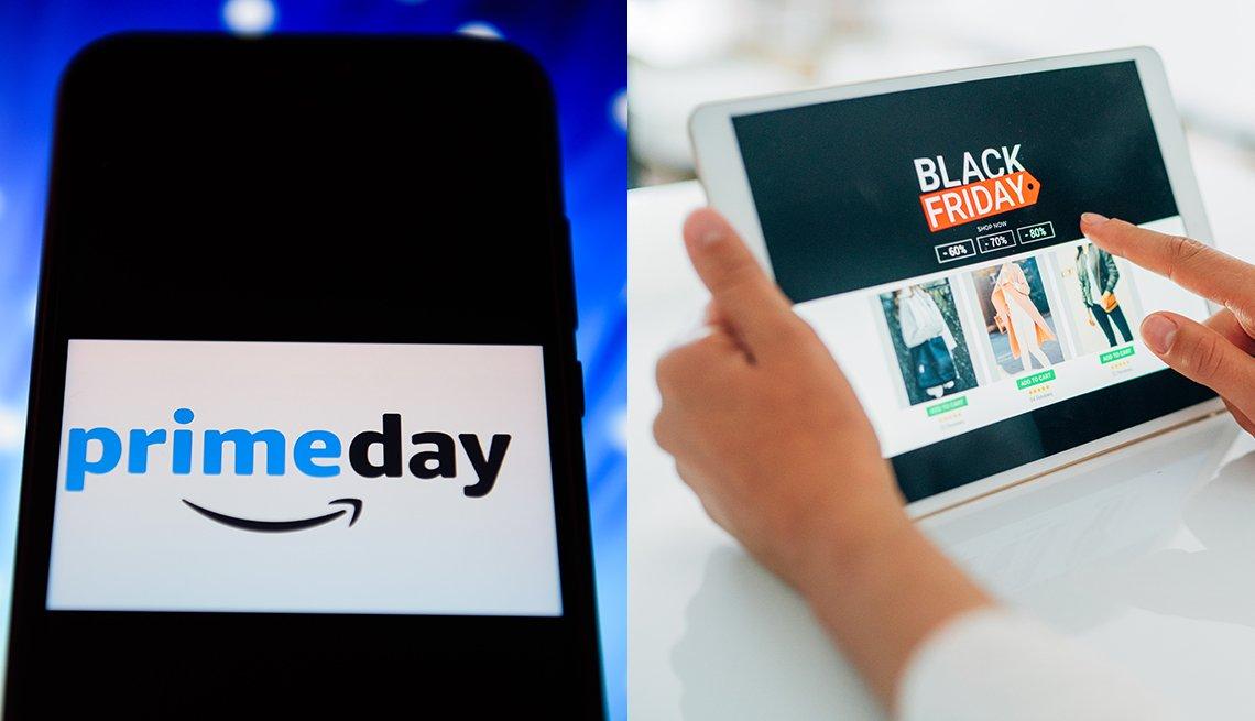 Pantalla de un móvil con el logo  de Amazon Prime Day y una persona con una tableta que hace compras durante el Viernes negro.