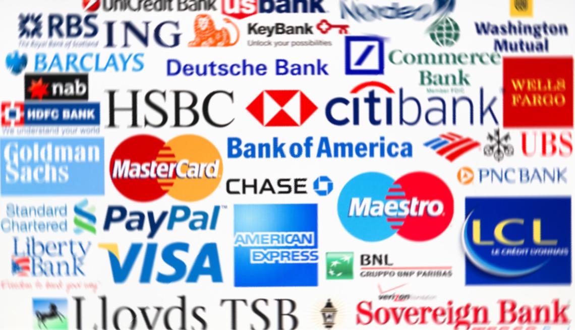 Logos de instituciones financieras y bancos.