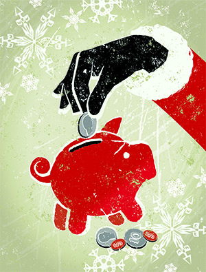 old fashioned illustration of a santa hand putting a coin in a piggy bank