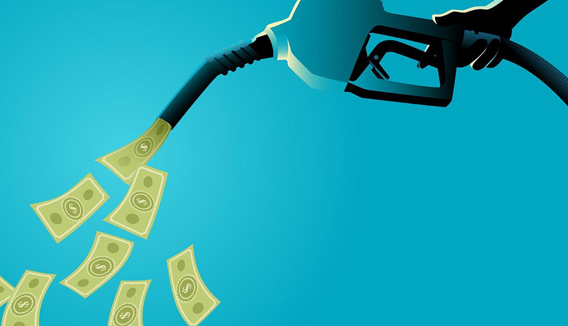 Ilustración de un dispensador de gasolina que da dólares