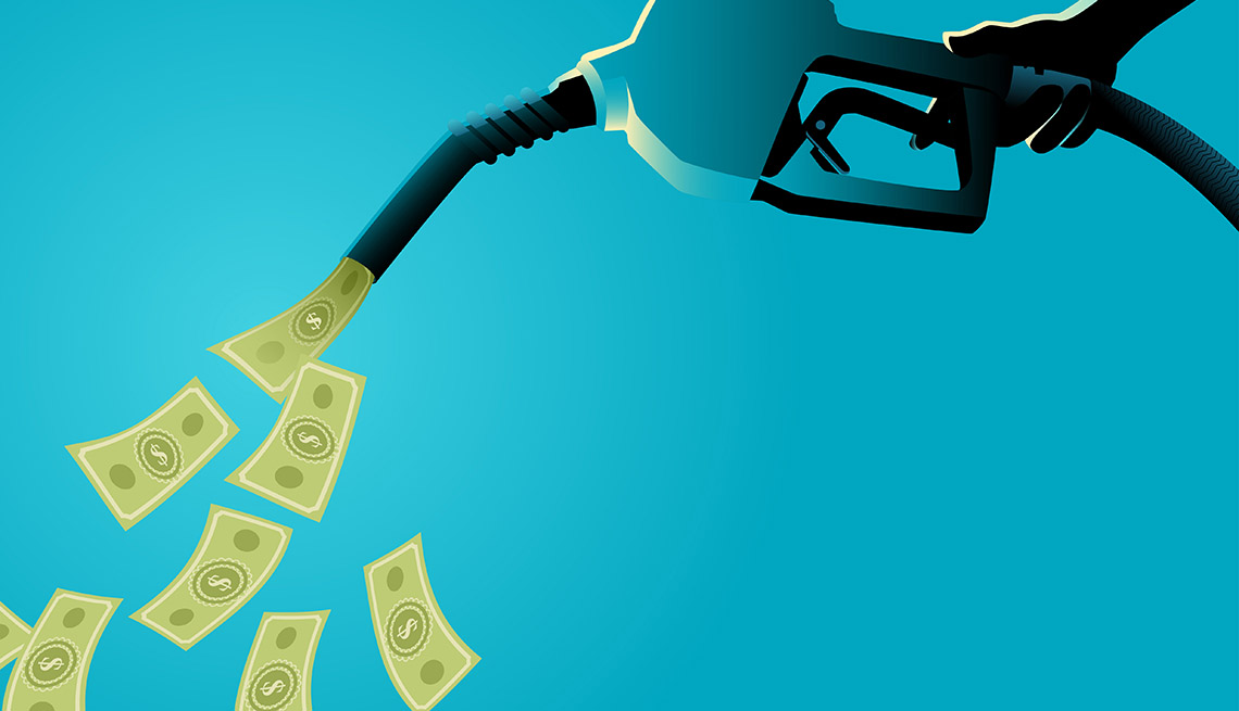 illustration of a hand holding gasoline fuel pump pouring money