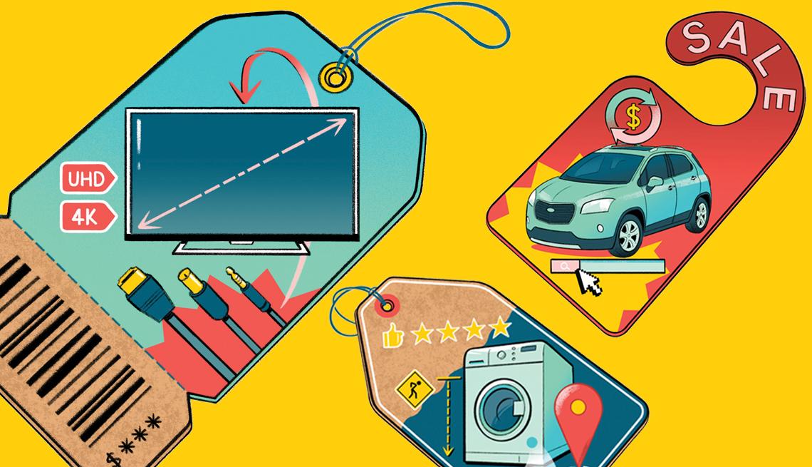 Gráfica con tiquetes de precios con una lavadora, un carro, y un televisor.