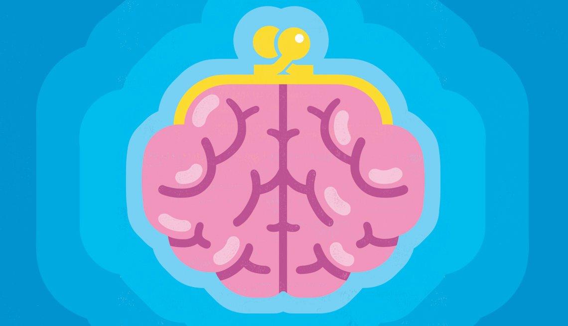 Ilustración de una cartera en forma de cerebro.