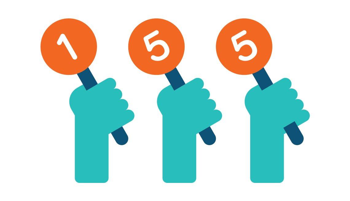 Ilustración de manos que sostienen avisos de 1, 5 y 5