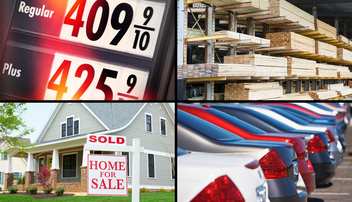 photos of high gas prices a lumber yard a house that has been sold and cars in a parking lot