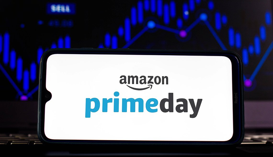 The Amazon Prime Day logo is displayed on a smartphone screen