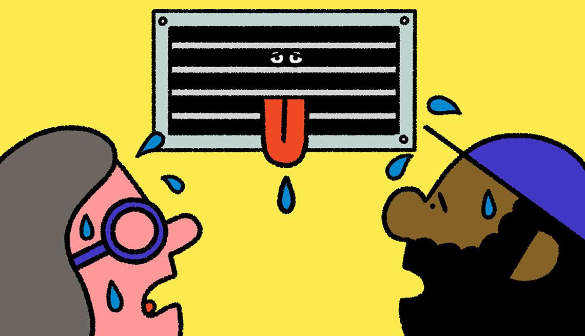 Ilustración de dos personas mirando a un aire acondicionado que saca la lengua por mal funcionamiento.