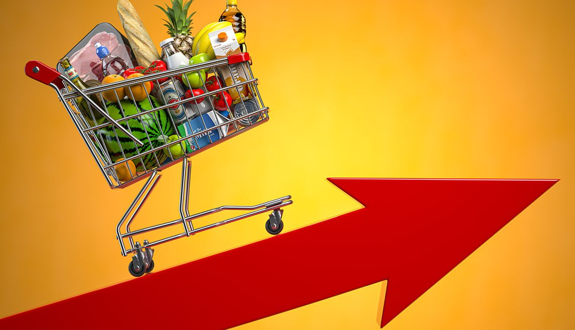 inflationary impact on food prices illustrated by grocery shopping basket on upward arrow
