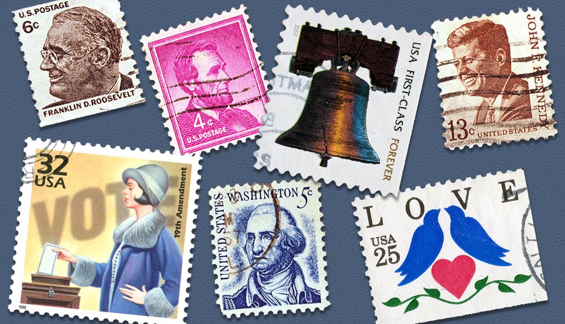 Varias estampillas del correo postal de Estados Unidos