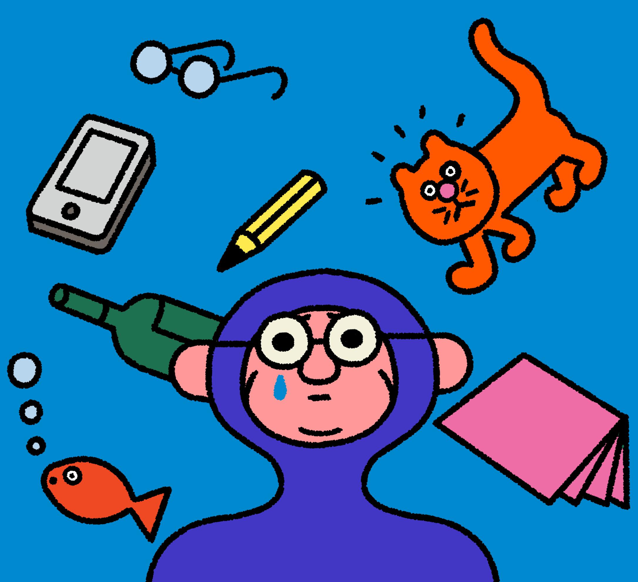 Ilustración de una persona en el agua con un pez, gafas, lápiz, teléfono y un gato flotando.