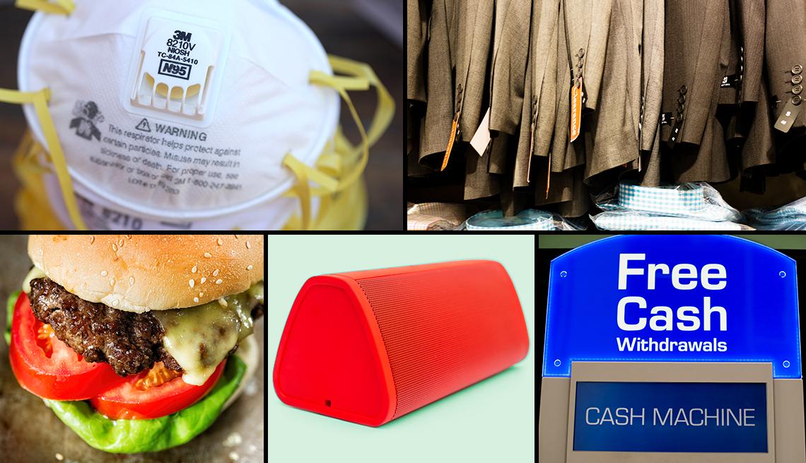 Mascarilla, trajes de hombre, hamburguesa, parlante portátil, y cajero automático