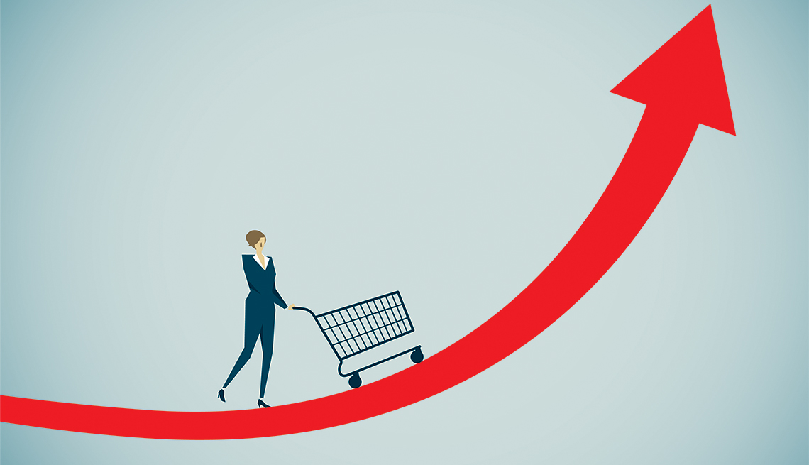 illustration of a woman pushing the shopping cart up a steep curved arrow, representing rising prices
