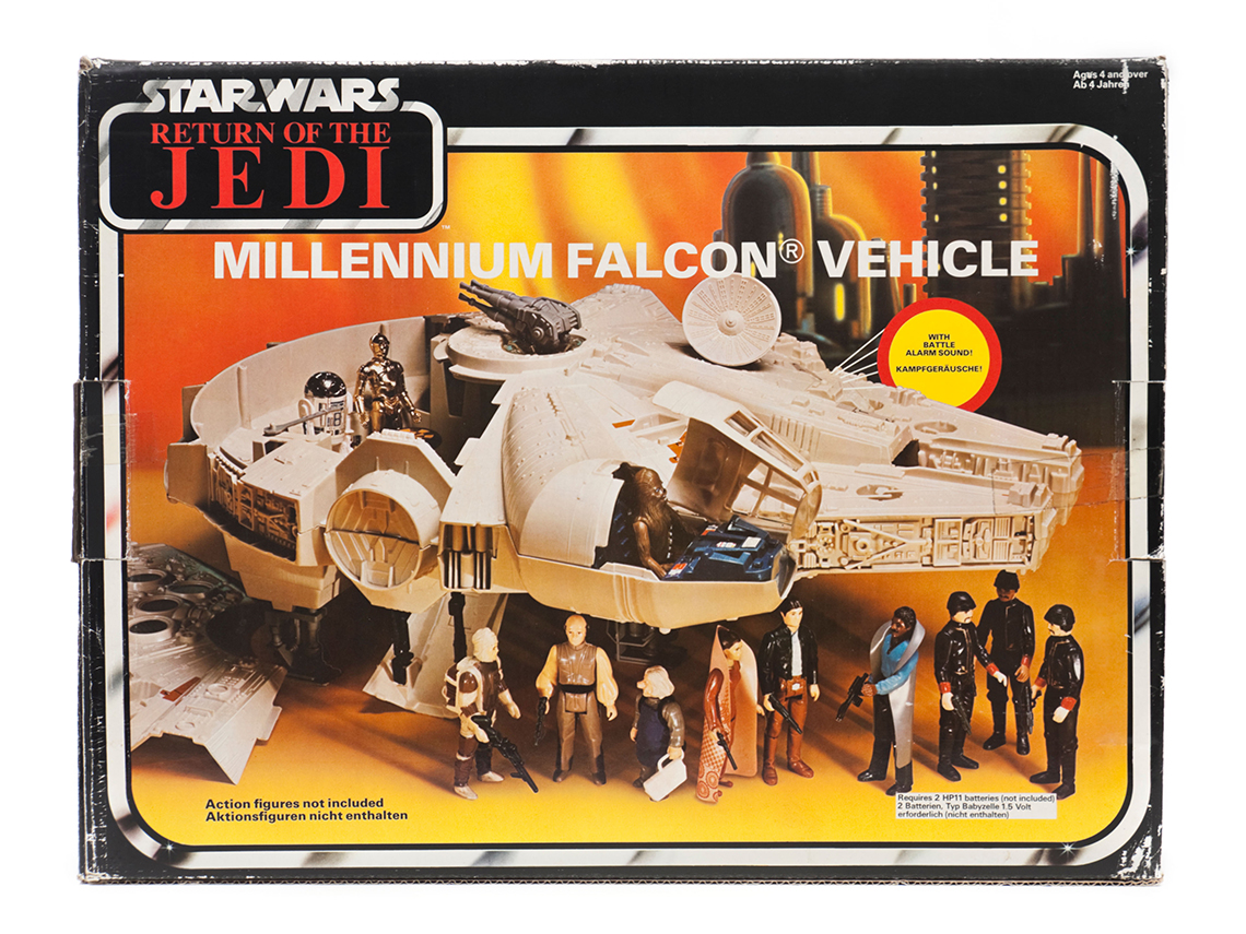 vintage star wars millenium falcon spaceship toy from the film return of the jedi