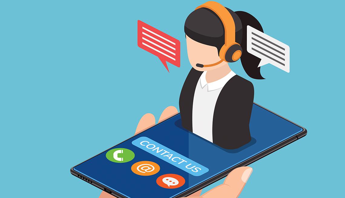 Ilustración de una representante de servicio al cliente que sale de un teléfono móvil