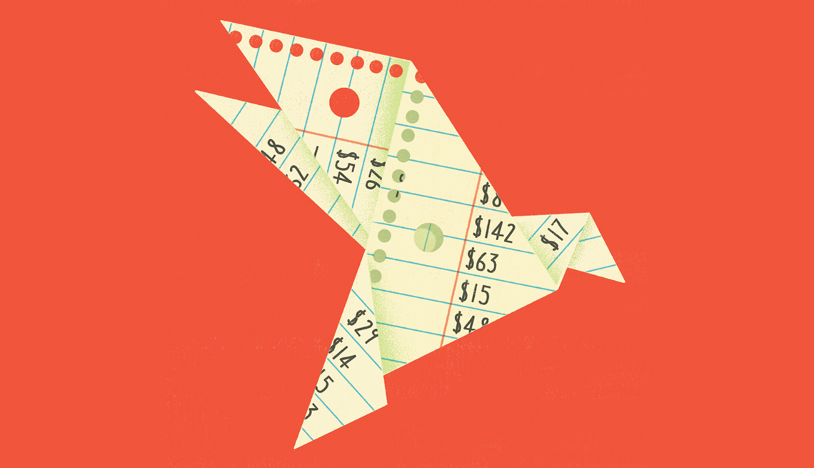 an origami bird made out of a budget written on a piece of paper