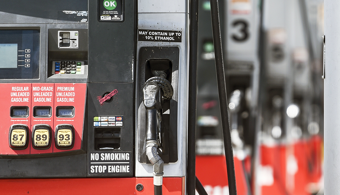 close view of gasoline fuel pumps at a gas station on route 724 in Gibraltar, PA