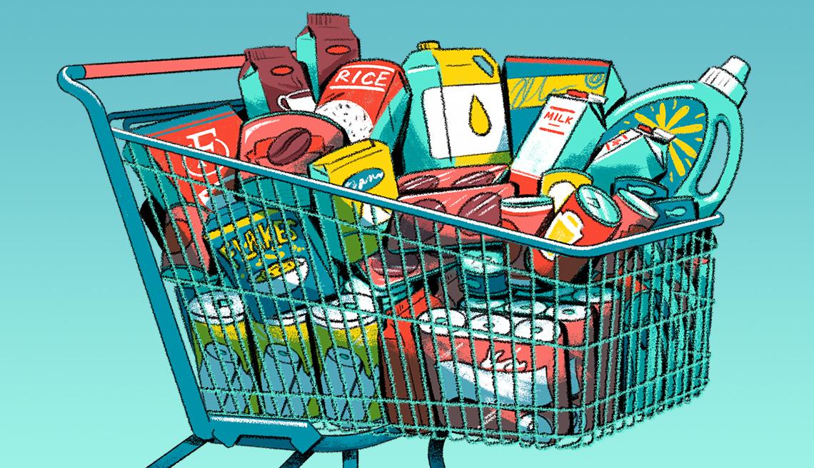 Ilustración de un carrito de compras con elementos de aseo y comestibles