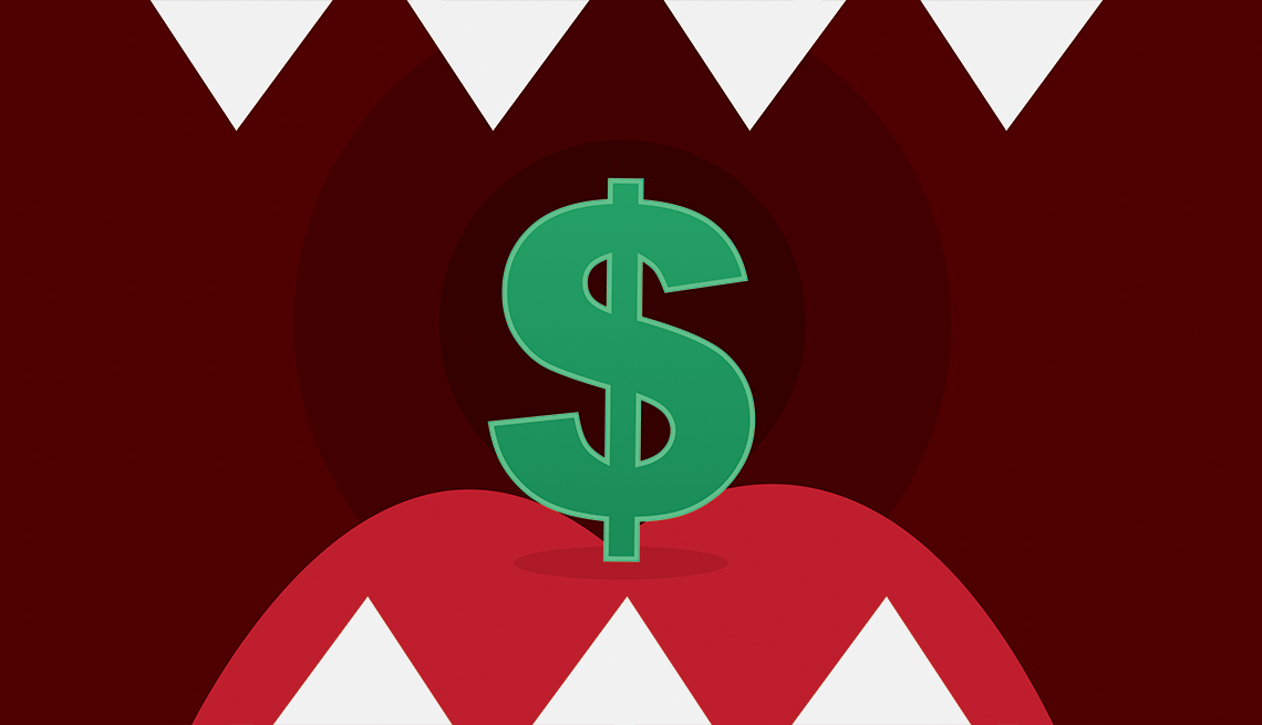 illustration of a dollar sign inside a mouth with sharp teeth