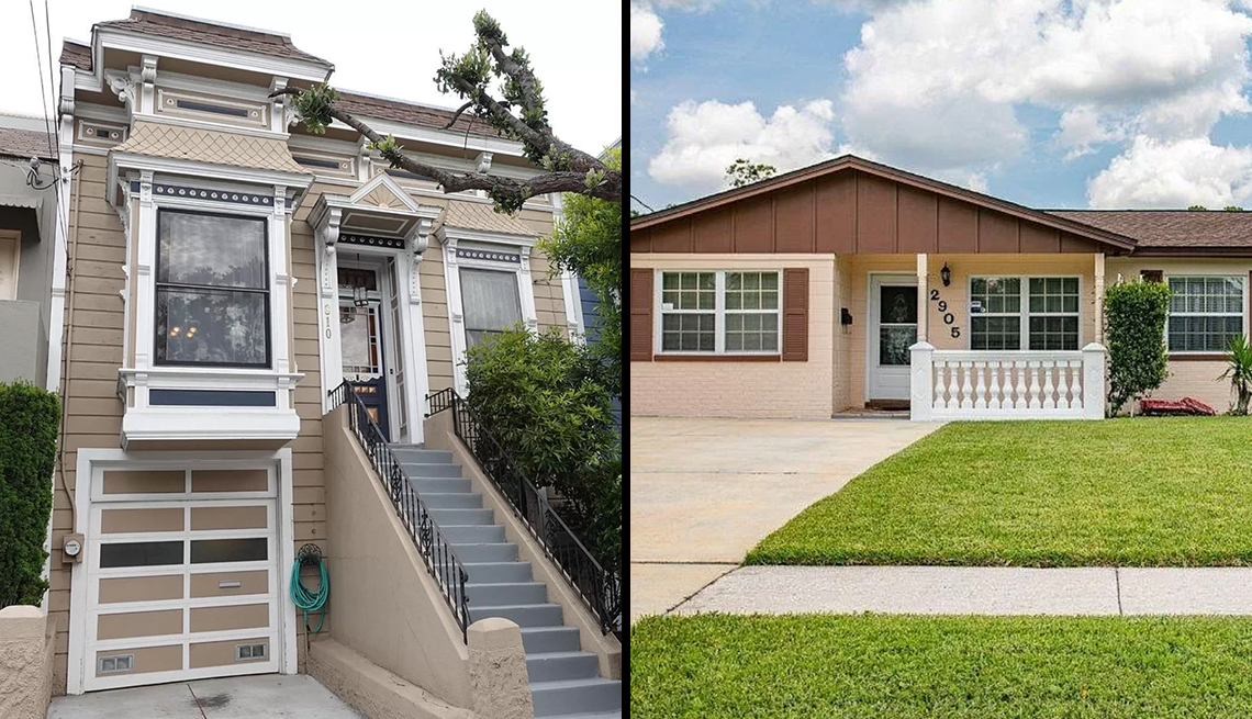 two houses one a two story home in san fransisco and the other a ranch style home in florida