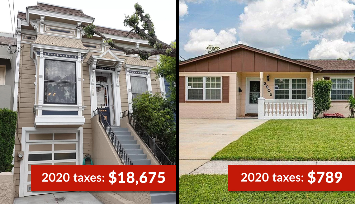 two houses one a two story home in san fransisco and the other a ranch style home in florida showing the annual cost of property tax