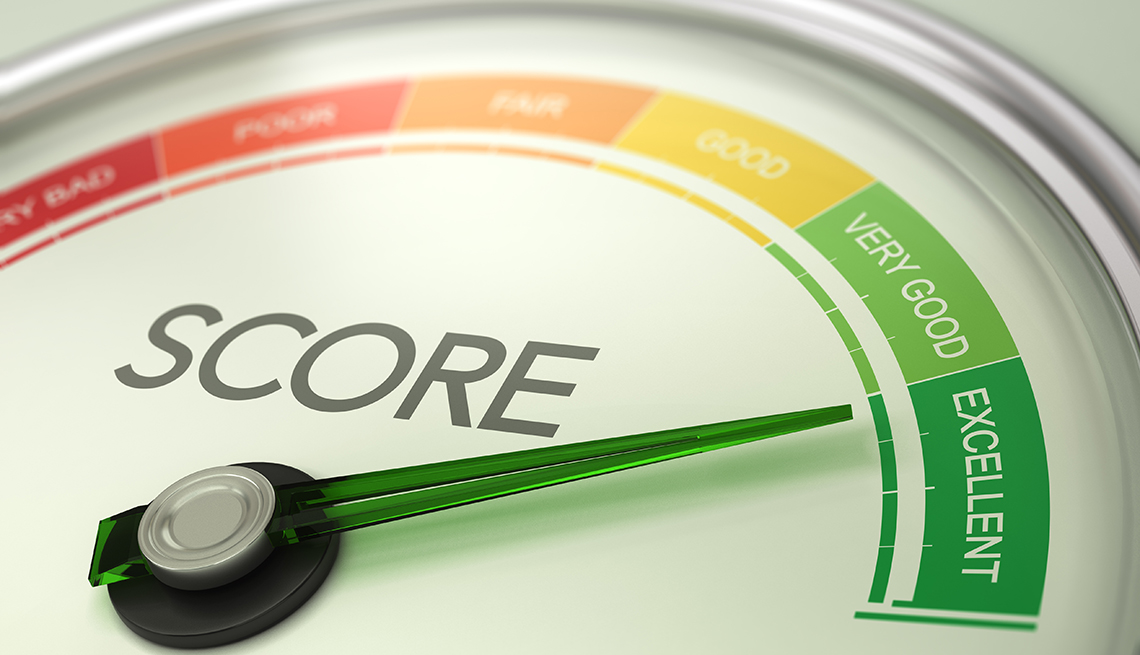 A gauge that shows someone with an excellent credit score