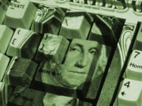 U.S. dollar bill pattern on keyboard - Online banks generally pay higher interest rates.