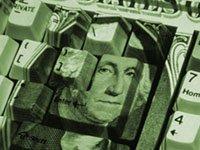 U.S. dollar bill pattern on keyboard - Online banks generally pay higher interest rates.
