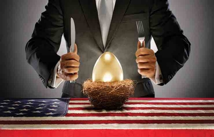 Sinister businessman dining on a golden egg which is plated in a bird's nest, Pension Poaching